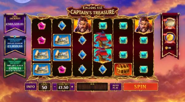 play kingdoms rise captains treasure slot